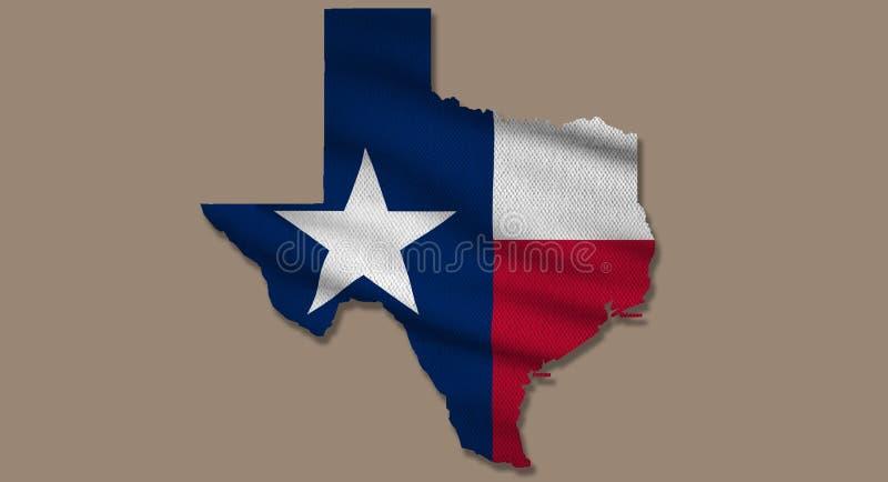 Textura de sinalizador de mapa do Texas ilustração royalty free