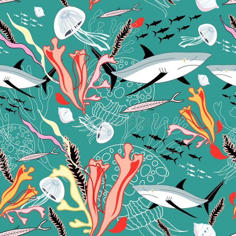 Textura de tiburones y de medusas ilustración del vector