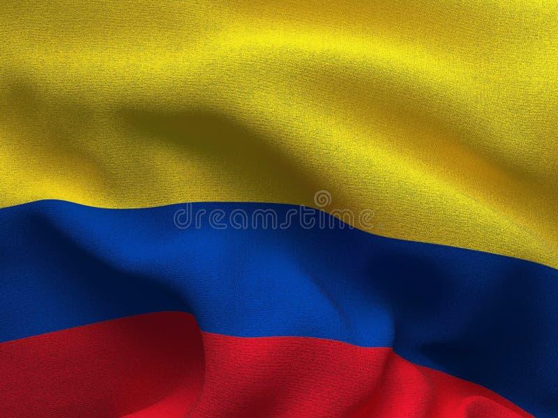 Textura de uma tela com a imagem da bandeira de Colômbia, acenando no vento ilustração do vetor