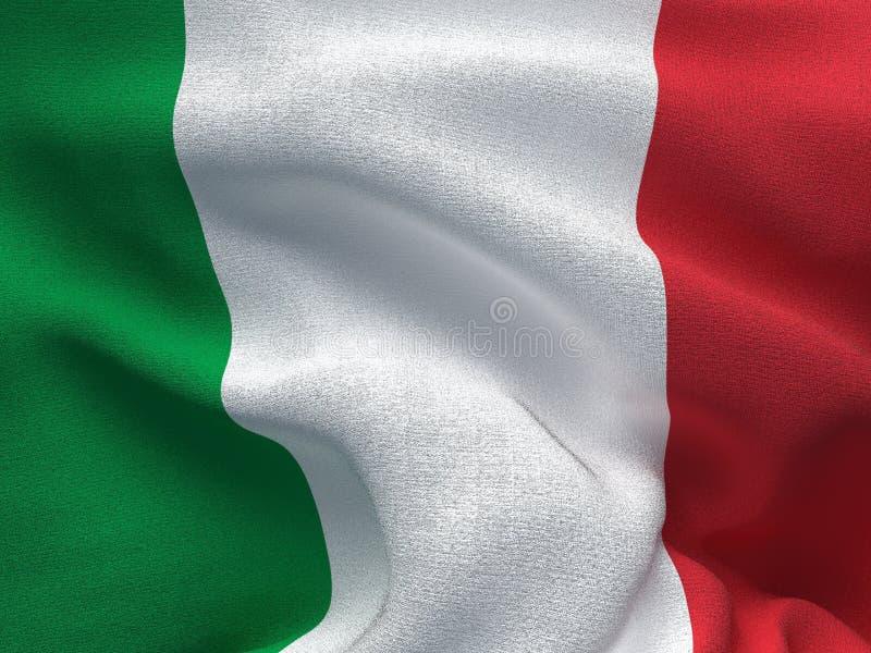 Textura de uma tela com a imagem da bandeira de Italia, acenando no vento ilustração do vetor