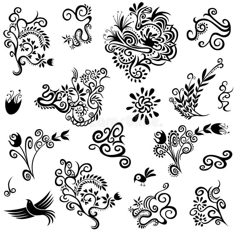 Textura decorativa das pombas das flores das folhas das flores imagens de stock royalty free