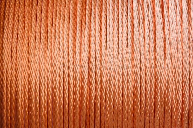Textura del alambre de cobre, concepto del fondo del primer de la producción industrial imagen de archivo