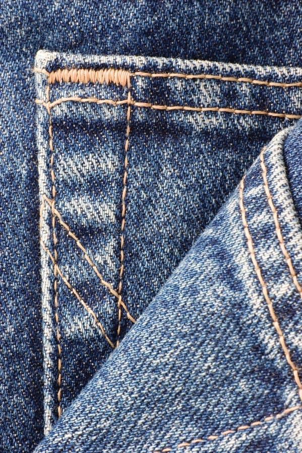 Textura del bolsillo de los tejanos del dril de algodón, primer macro vertical detallado grande, modelo texturizado del detalle foto de archivo