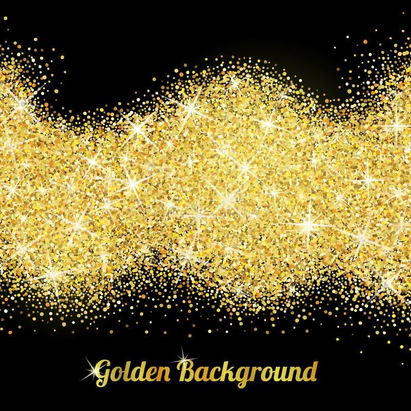 Textura del brillo del oro con las chispas stock de ilustración