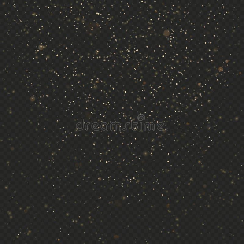 Textura del brillo del polvo de oro en fondo transparente oscuro Explosión del confeti Estrellas que brillan EPS 10 stock de ilustración