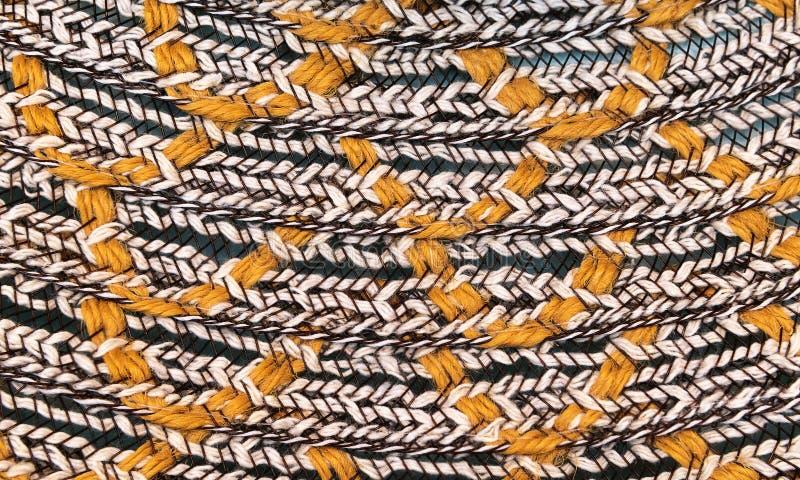 Textura del cierre de mimbre pintado del sombrero para arriba El sombrero de mimbre, se cierra encima del detalle foto de archivo libre de regalías