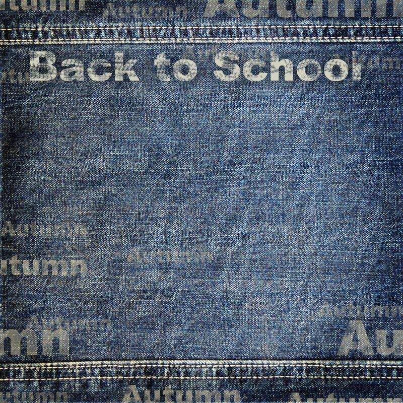 Textura del dril de algodón con de nuevo al fondo de la escuela stock de ilustración