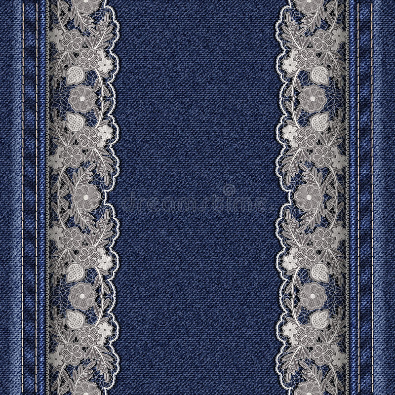 Textura del dril de algodón con las cintas blancas atadas del cordón Marco hermoso para la tarjeta o la cubierta de felicitación libre illustration