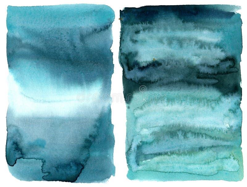 Textura del extracto de la acuarela Fondo pintado a mano del extracto del mar o del oc?ano Ejemplo acu?tico para el dise?o, impre stock de ilustración