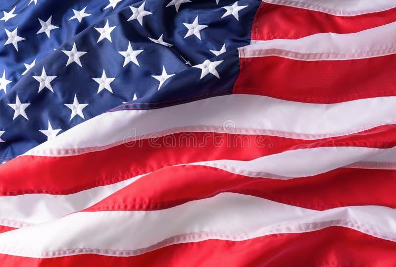 Textura del fondo de la bandera americana Indicador americano que agita en el viento fotografía de archivo libre de regalías
