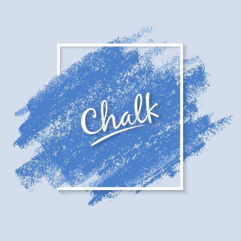 Textura del Grunge de la tiza Cepillo artístico ancho Movimientos dinámicos del vector Colores azules suaves de la paleta stock de ilustración