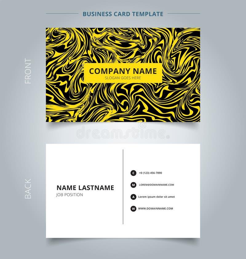 Textura del mármol del amarillo de la tarjeta de presentación del negocio en fondo negro stock de ilustración