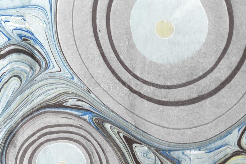 Textura del mármol de la tinta Fondo hecho a mano de la onda de Ebru Superficie del papel de Kraft Ejemplo único del arte Textura fotografía de archivo libre de regalías