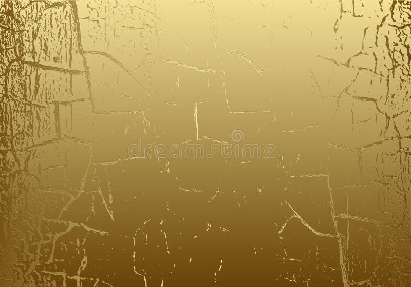 Textura del mármol del vector con la hoja de oro agrietada pátina Fondo del rasguño del oro Contexto de oro del diseño del grunge stock de ilustración