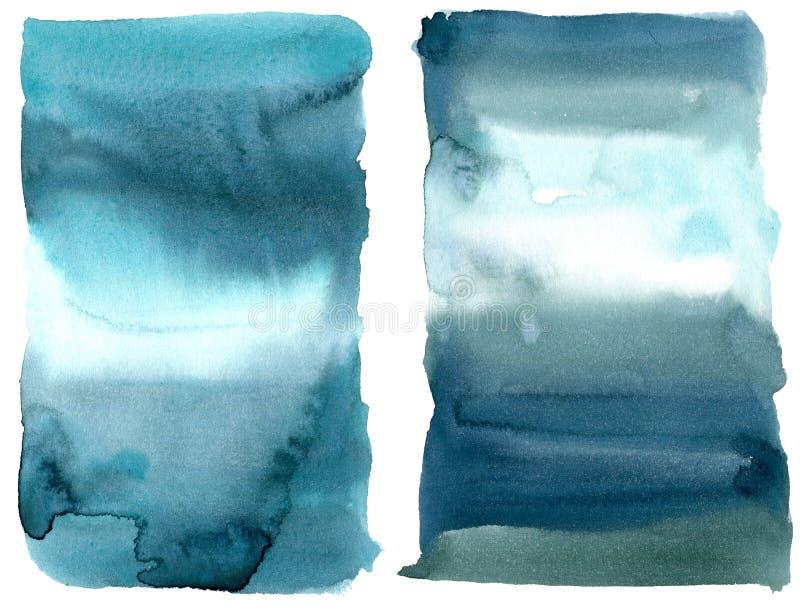 Textura del mar del extracto de la acuarela Fondo pintado a mano del extracto del mar o del oc?ano Ejemplo acuático para el diseñ ilustración del vector