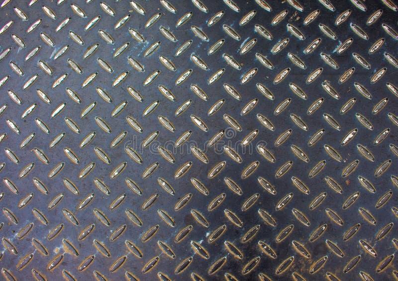 Textura del metal Foto de la superficie del piso del hierro Metal el alivio para la trayectoria que camina en área de la construc fotos de archivo libres de regalías