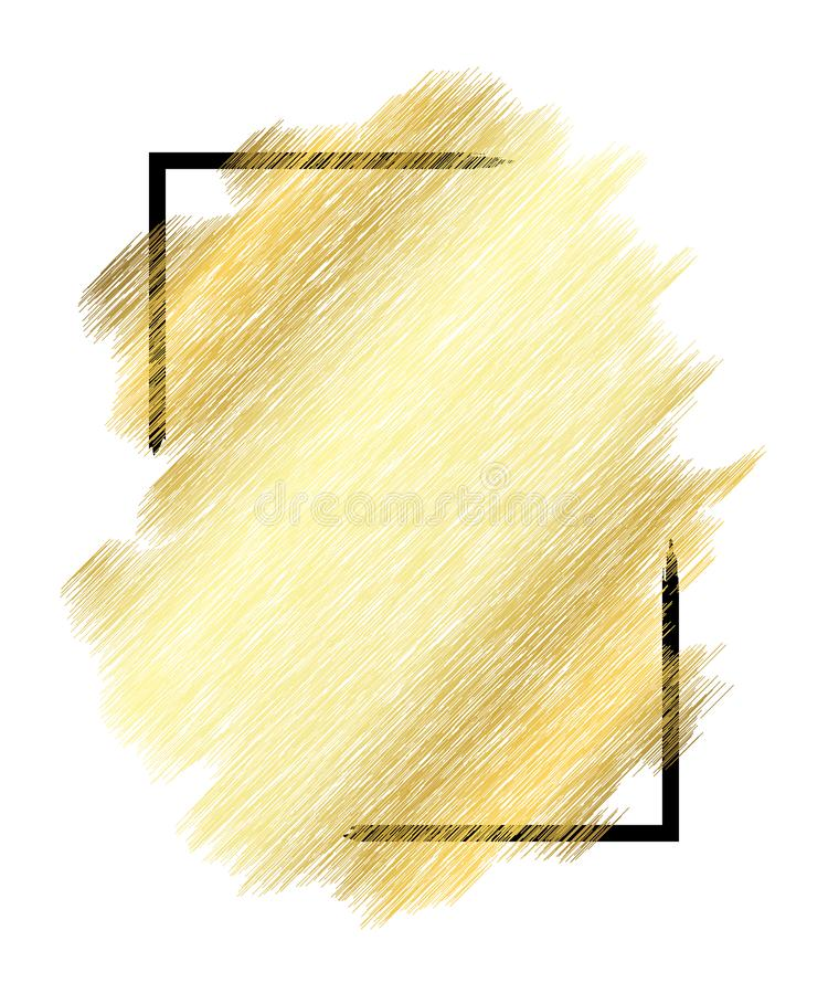 Textura del metall del oro, marco negro Fondo blanco aislado movimiento de oro de la pintura del color Diseño de la mancha del br libre illustration