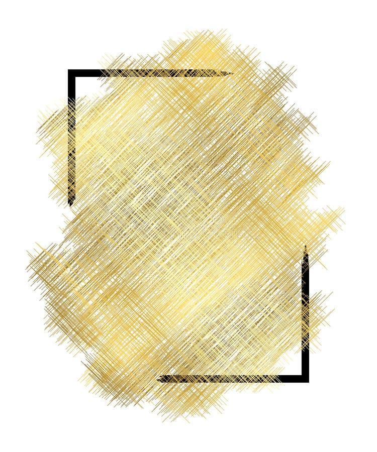 Textura del metall del oro, marco negro Fondo blanco aislado movimiento de oro de la pintura del color Diseño de la mancha del br ilustración del vector