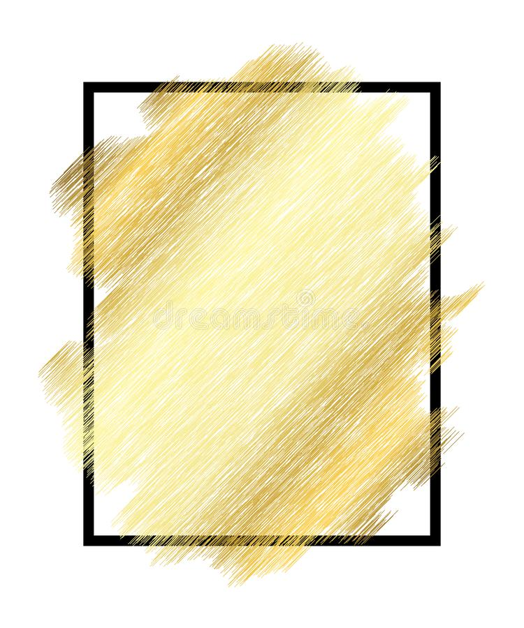 Textura del metall del oro, marco negro Fondo blanco aislado movimiento de oro de la pintura del color Diseño de la mancha del br stock de ilustración
