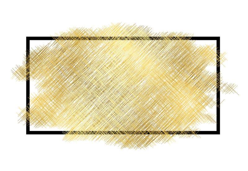 Textura del metall del oro, marco negro Fondo blanco aislado movimiento de oro de la pintura del color Dise?o de la mancha del br libre illustration