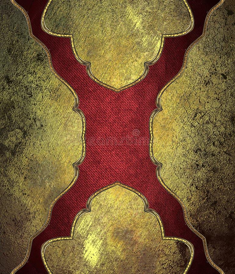 Textura del modelo del Grunge del amarillo con un modelo rojo Plantilla para el diseño copie el espacio para el folleto o la invi libre illustration