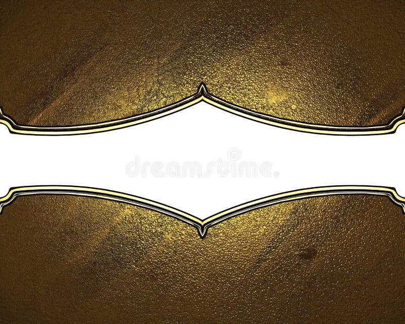 Textura del oro con la placa blanca Elemento para el diseño Plantilla para el diseño copie el espacio para el folleto del anuncio libre illustration