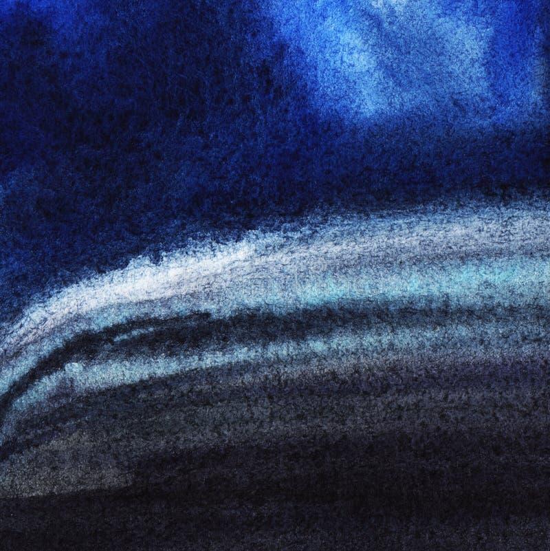 Textura del papel de la acuarela, pintada en wate negro y azul profundo stock de ilustración