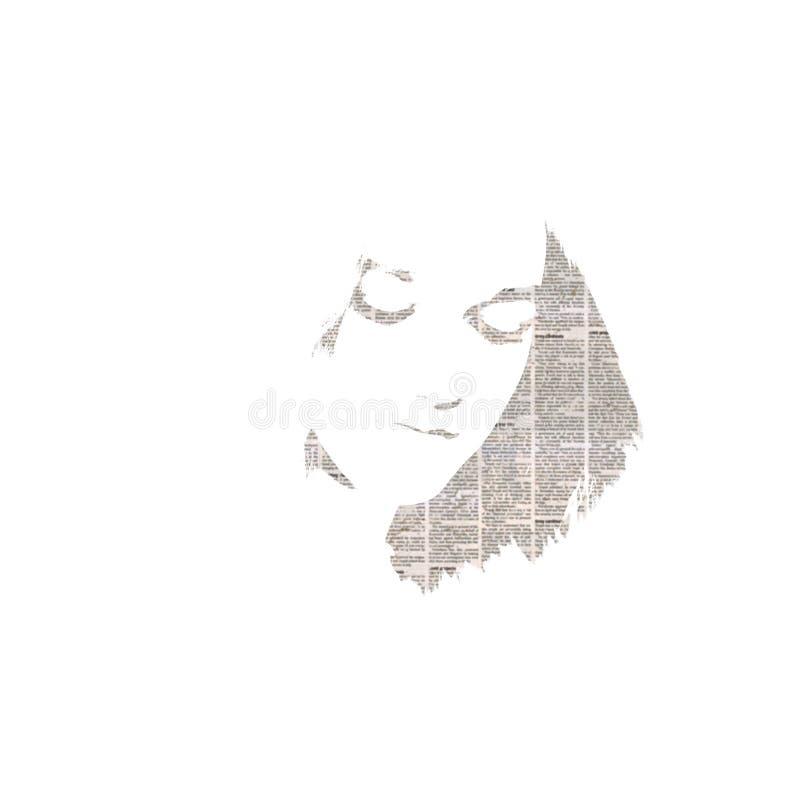 Textura del periódico en el retrato del ` s de la muchacha stock de ilustración