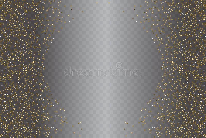 Textura del polvo del brillo del oro en fondo transparente Vector el ejemplo para el polvo dispersado de oro para la venta libre illustration