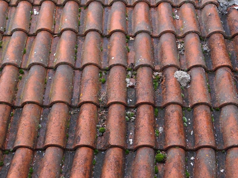 Textura del tejado de teja roja foto de archivo