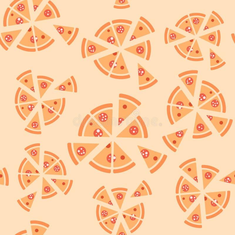 Textura del vector del modelo con la pizza de salchichones stock de ilustración