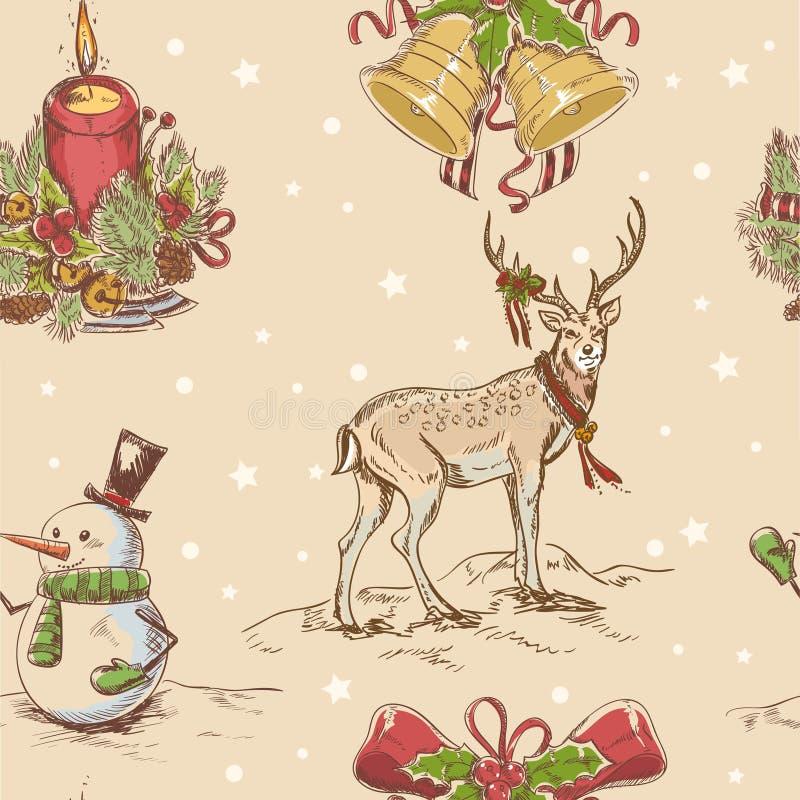 Textura desenhada do Natal mão sem emenda creativa ilustração do vetor