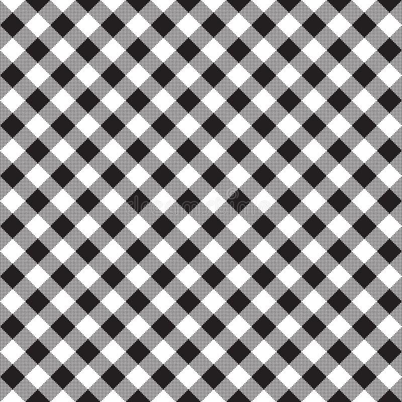 Textura diagonal da tela da verificação branca preta do tabuleiro de damas sem emenda ilustração do vetor