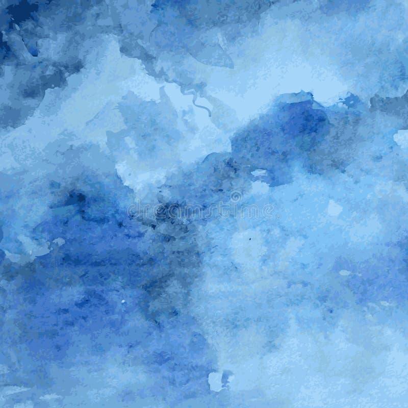 Textura diseñada del papel del grunge, fondo abstracto artístico azul del vector de la acuarela, estilo dibujado mano para el lib stock de ilustración