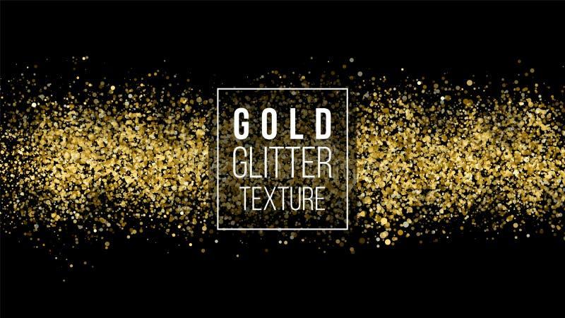 Textura do brilho do ouro em um fundo preto Fundo do feriado Explosão dourada dos confetes Textura abstrata granulado dourada Vec ilustração stock