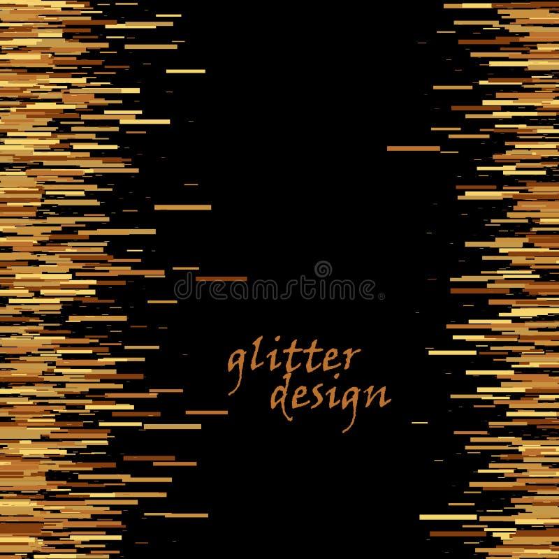 Textura do brilho do ouro em um fundo preto Fundo do feriado Explosão dourada dos confetes Sumário granulado dourado ilustração royalty free