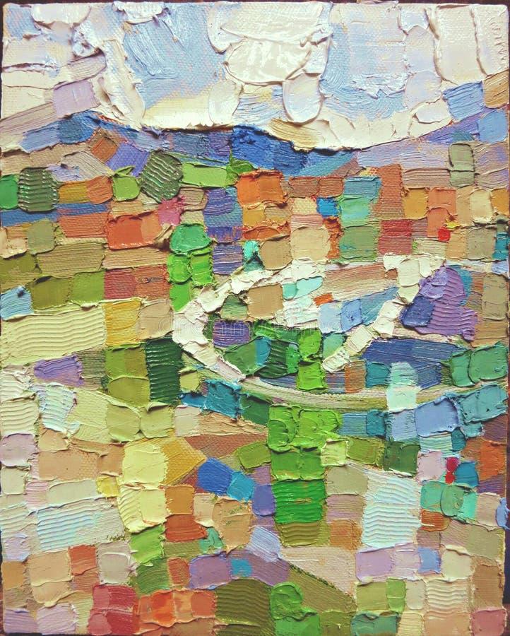 Textura do close up da pintura a óleo do teste padrão do expressionismo abstrato foto de stock royalty free