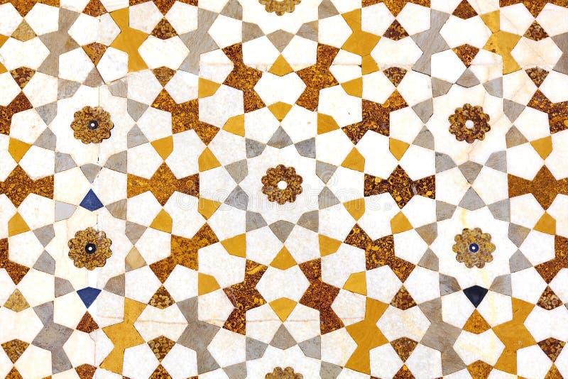 Textura do detalhe do mosaico de pedras coloridas no mármore fotos de stock