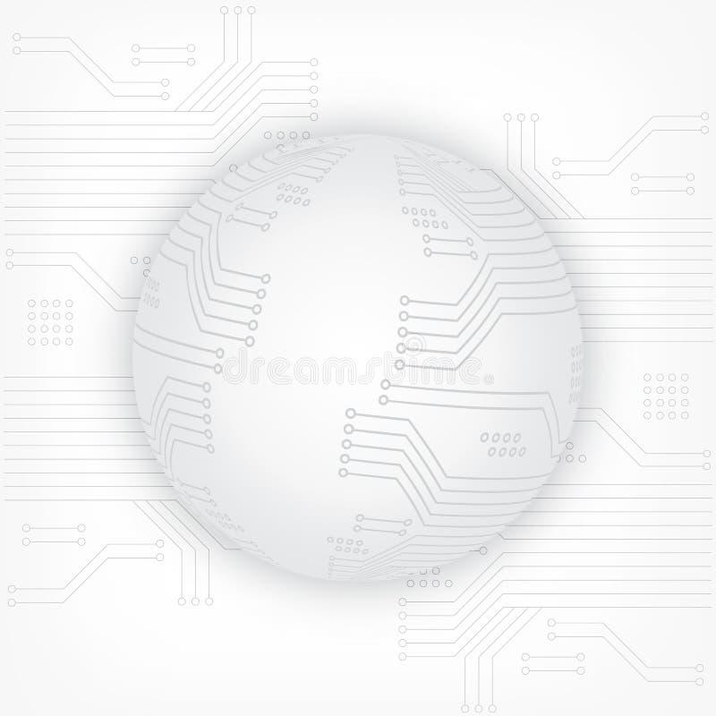 textura do fundo da tecnologia da Alto-tecnologia no cinza Esfera 3d Placa de circuito abstrata da tecnologia, fundo do vetor ilustração stock