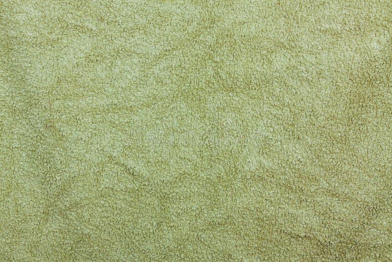 Textura do fundo de Olive Green Bathroom Towel Textile para o projeto foto de stock