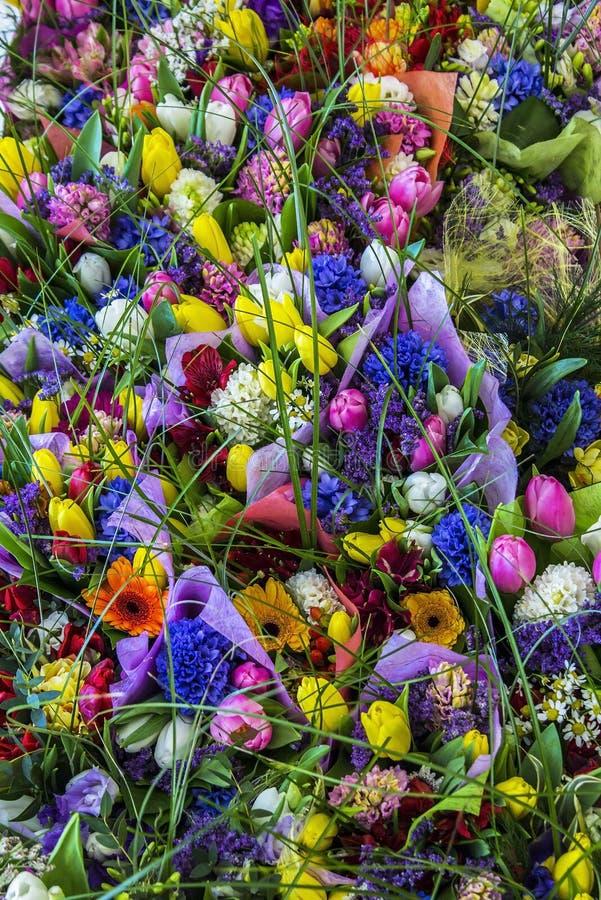 Textura do fundo do ramalhete de flores coloridas fotos de stock