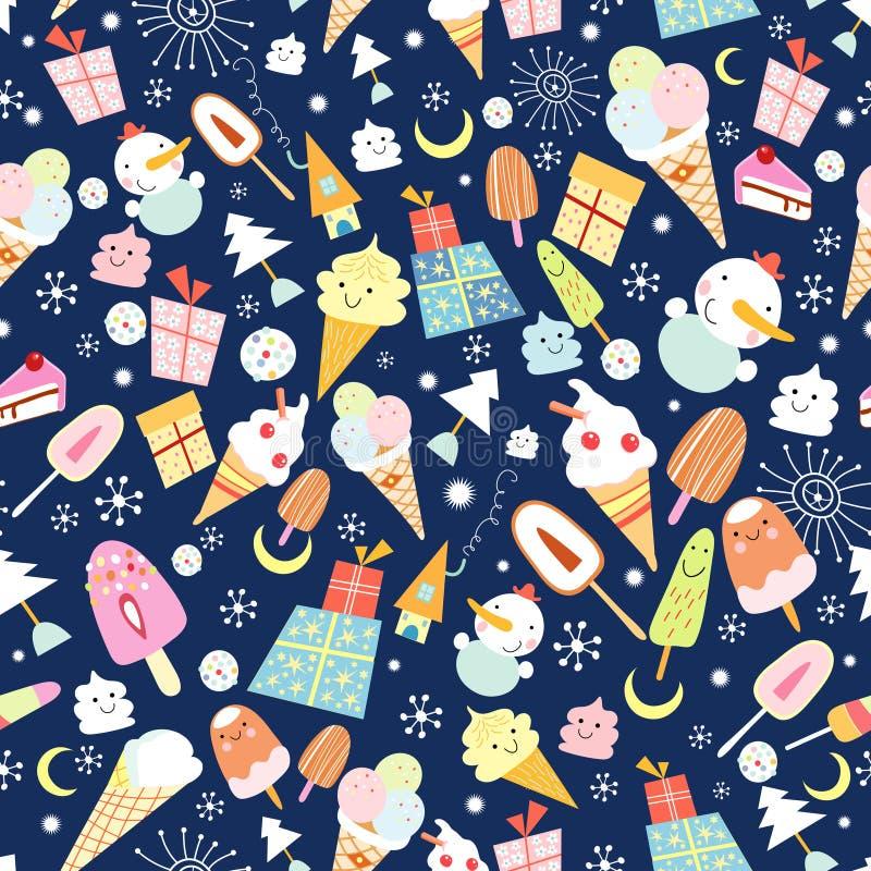 Textura do gelado e de bonecos de neve alegres ilustração do vetor