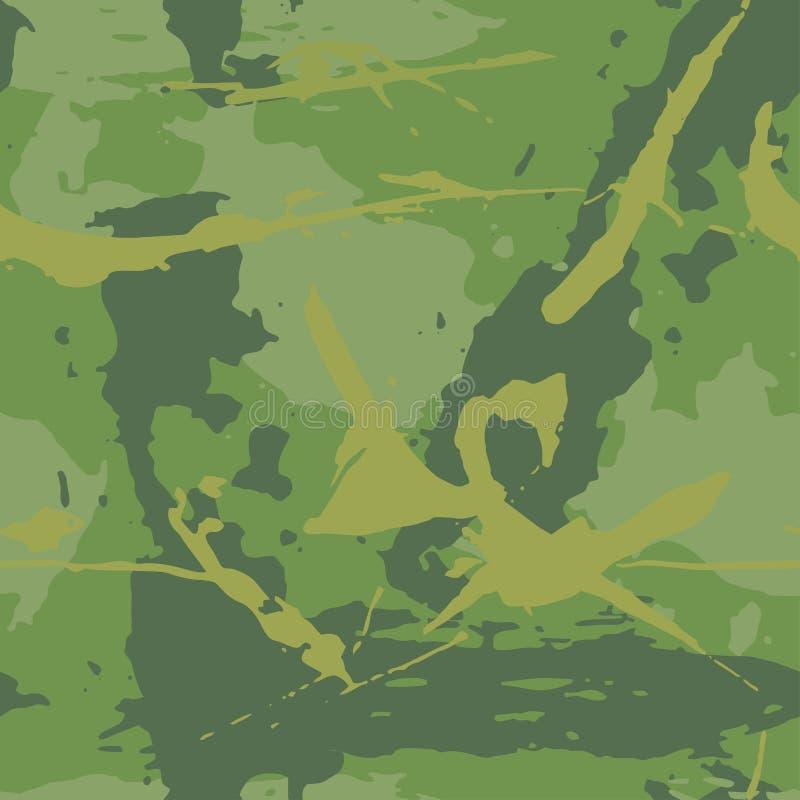 Textura do grunge da camuflagem Fundo abstrato sem emenda dos cursos da pintura escuros - verde, caqui Cópia ou papel de parede d ilustração do vetor