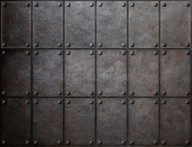 Textura do metal da armadura com fundo dos rebites foto de stock