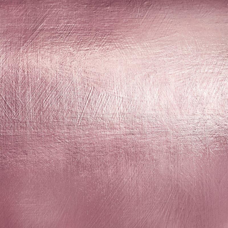Textura do metal do ouro de Rosa Fundo macio da folha de Luxure fotografia de stock