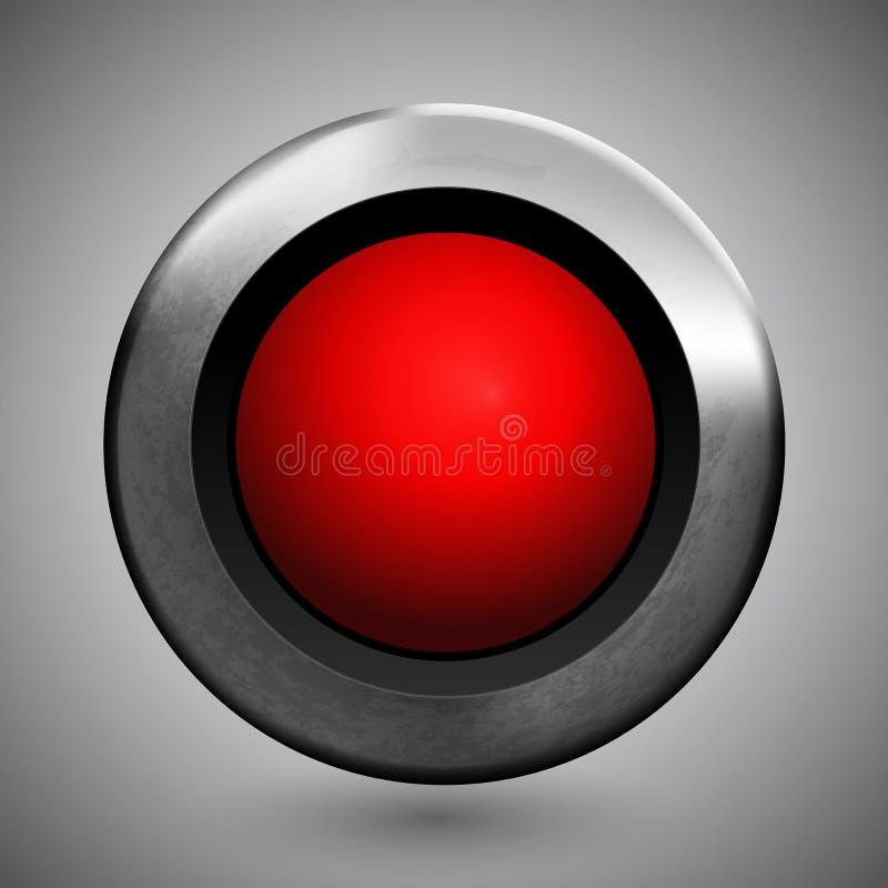 Textura do molde do ícone do botão vermelho do metal realística ilustração royalty free