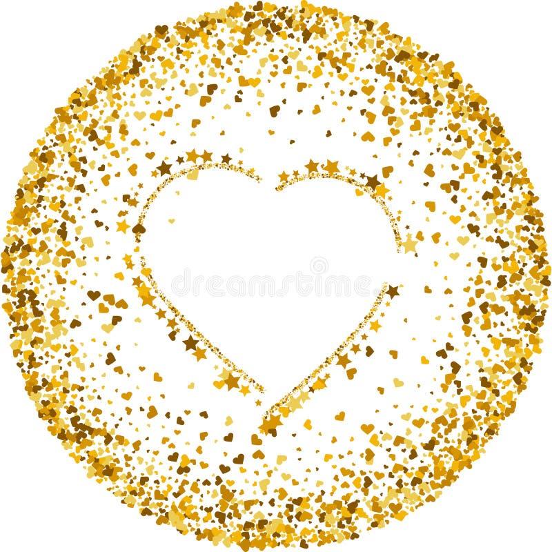 Textura do ouro do brilho na forma do coração em um fundo branco Fundo do feriado Textura abstrata granulado dourada ilustração do vetor