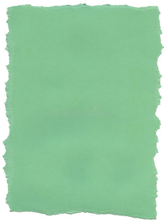 Papel verde da fibra do Aqua - bordas rasgadas imagens de stock royalty free