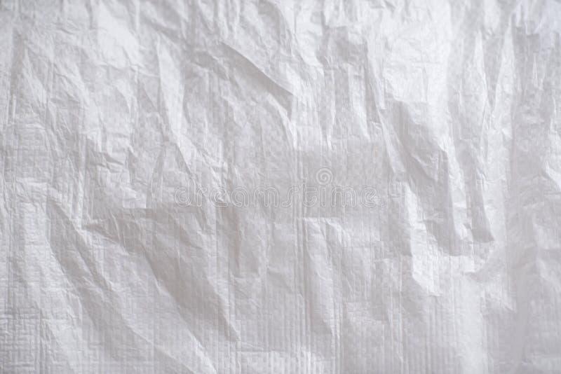 Textura do saco esmagado branco, material imagem de stock