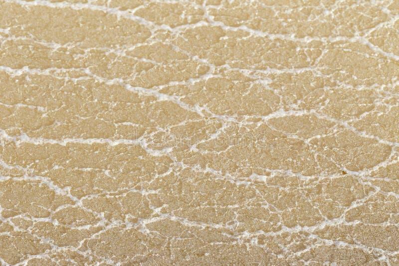 Textura do sal cru na água do mar no processo das lagoas da evaporação em fotografia de stock royalty free